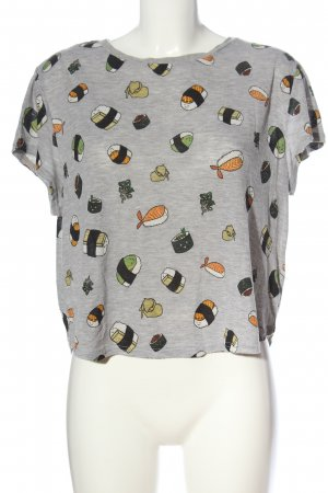 H&M Cropped Top hellgrau Allover-Druck Casual-Look