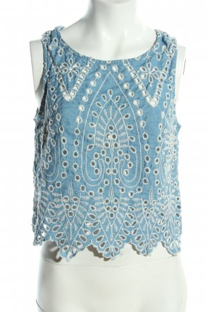 H&M Cropped Top blue-white graphic pattern casual look
