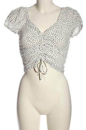 H&M Crop-top blanc-noir imprimé allover style décontracté