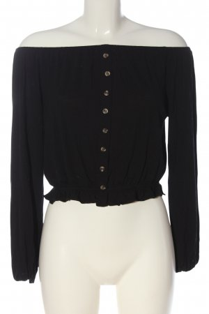 H&M Cropped Top schwarz Zopfmuster Casual-Look