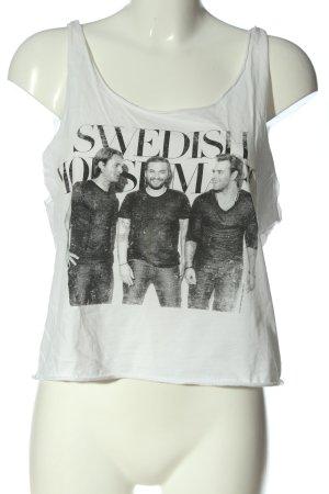H&M Cropped Top weiß-schwarz Motivdruck Casual-Look