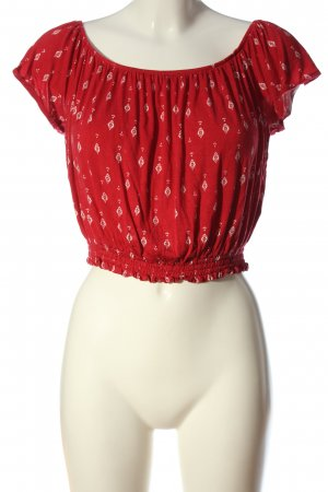 H&M Cropped Top rot-weiß Allover-Druck Casual-Look