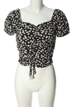 H&M Cropped Top schwarz-weiß Allover-Druck Casual-Look
