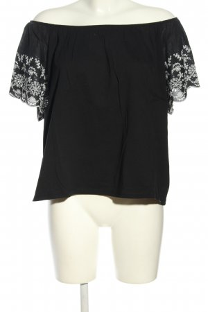 H&M Cropped Top schwarz-weiß Blumenmuster Casual-Look