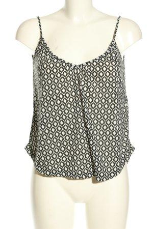 H&M Cropped Top weiß-schwarz Allover-Druck Casual-Look