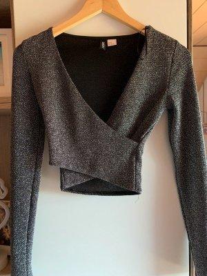 H&M Top corto argento-grigio