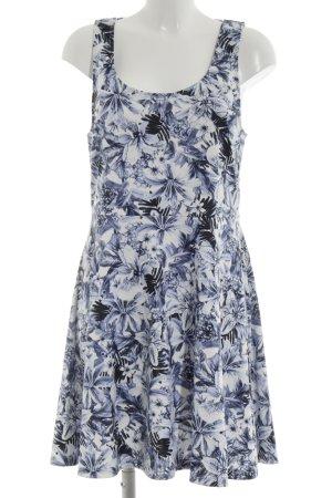 H&M Cut-Out-Kleid blau-wollweiß Allover-Druck Elegant