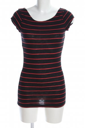 H&M Cut-Out-Top schwarz-rot Streifenmuster Casual-Look