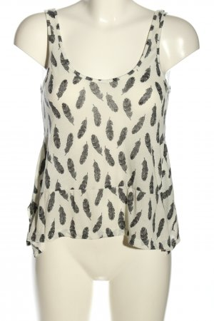 H&M Cut Out Top cream-black abstract pattern casual look