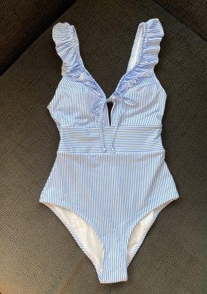 H&M Damen Badeanzug/Bikini Weiß/Blau Gestreift Gr. 36 NEU !!