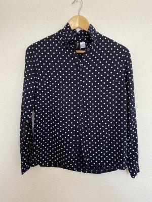 H&M Bluzka z długim rękawem biały-ciemnoniebieski