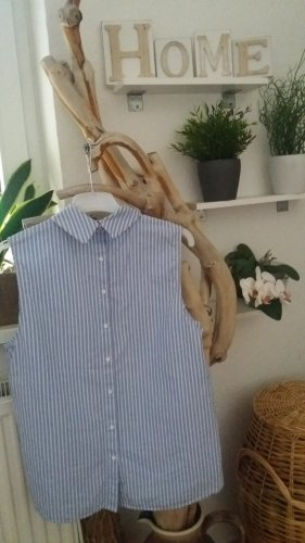 H&M Damen gestreifte weiß-hellblaue Bluse Hemd Gr.XXL. 44