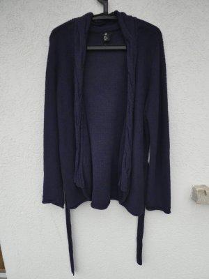 H&M – Damen Grobstrick-Cardigan, dunkelblau - Gebraucht,  fast wie neu