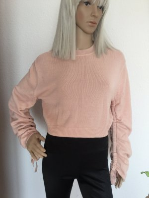 H&M Damen kurzer Pullover mit Schnürung aus 100% Baumwolle Gr.XS/S