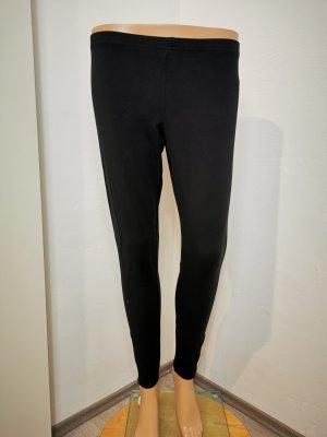 H&M Damen Leggins mit Reißverschluss schwarz Stretch Größe S