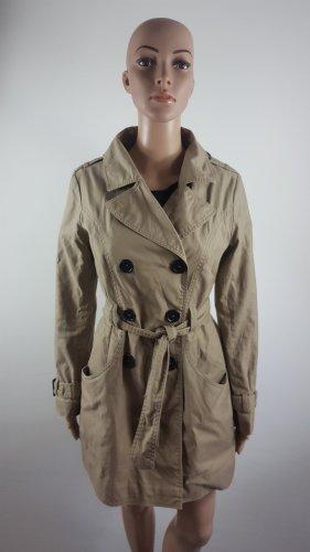 H&M Damen Mantel Trenchcoat beige lang mit Gürtel Größe 38 Jacke