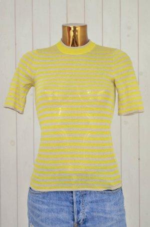 H&M Damen Pullover Strickpullover Stehkragen Kurzarm Gelb Beige Streifen Gr. 36