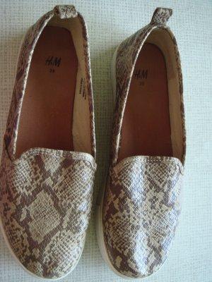H & M Damen Schuhe Gr. 39 Schlangen-Look braun/beige Halbschuhe