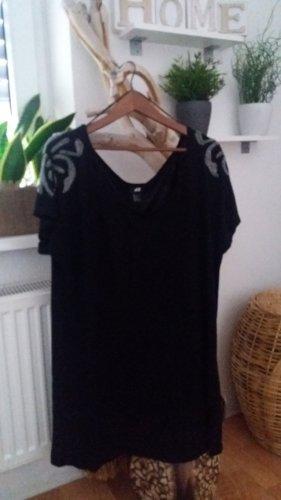 H&M Damen schwarze Bluse mit Perlen Strass Gr. 50-52