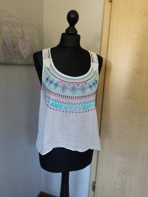 H&m Damen Top Weiß mit Spitze bunt Größe XS 34 Hippie Sommer