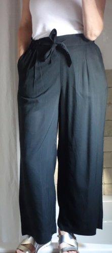 H&M Falda pantalón de pernera ancha negro tejido mezclado