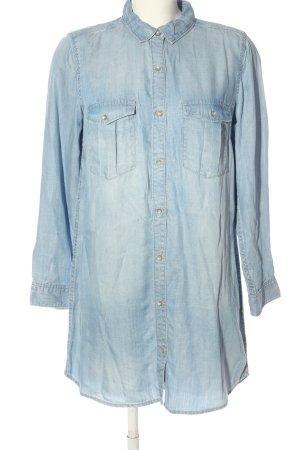 H&M DENIM Vestido tipo blusón azul look casual