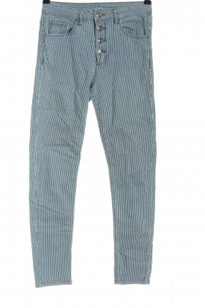 H&M DENIM High-Waist Hose blau-weiß Streifenmuster Casual-Look
