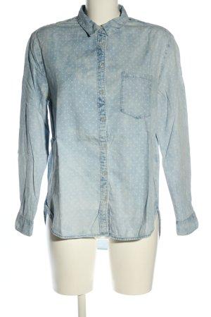 H&M DENIM Jeanshemd blau-weiß Punktemuster Casual-Look