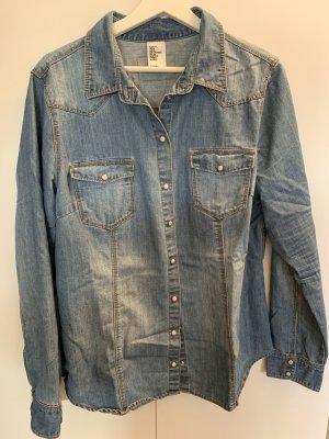 H&M Premium Denim Shirt slate-gray-blue