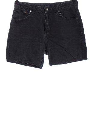 H&M DENIM Jeansshorts schwarz Streifenmuster Casual-Look