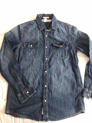 h&m denim shirt men's size