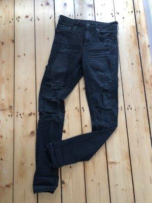 H&M Denim Skinny Jeans schwarz usedlook Gr. 28/32