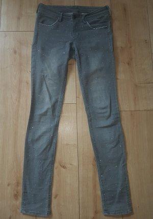 H&M Denim Skinny Low Waist Jeans Grey Washed mit Strass-Steinen XS 27/32 Party Chic Elegant