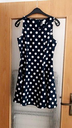 H&M Devided Kleid, blau/weiß, 38