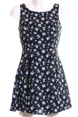 H&M Divided A-Linien Kleid schwarz-blau Blumenmuster Casual-Look