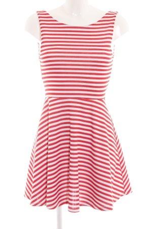 H&M Divided A-Linien Kleid rot-weiß Streifenmuster Casual-Look