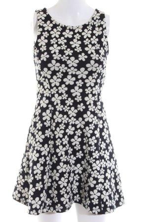 H&M Divided A-Linien Kleid schwarz-wollweiß Allover-Druck Casual-Look