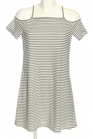 H&M Divided A-Linien Kleid creme-schwarz Streifenmuster Casual-Look