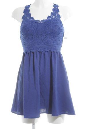 H&M Divided A-Linien Kleid blau Spitzenbesatz