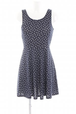 H&M Divided A-Linien Kleid blau-weiß Punktemuster Casual-Look