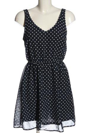 H&M Divided A-Linien Kleid blau-weiß Allover-Druck Casual-Look