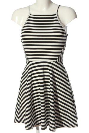 H&M Divided A-Linien Kleid wollweiß-schwarz Streifenmuster Casual-Look