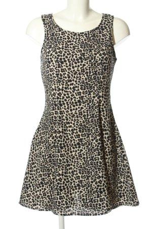 H&M Divided A-Linien Kleid schwarz-creme Allover-Druck Elegant
