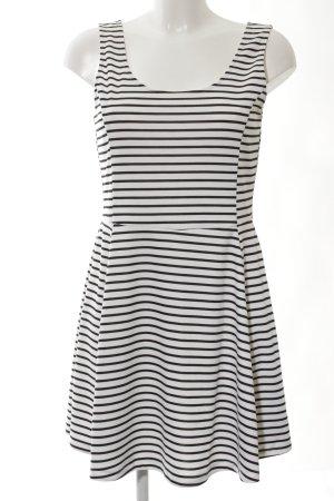 H&M Divided A-Linien Kleid schwarz-weiß Streifenmuster Casual-Look