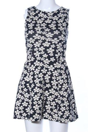 H&M Divided A-Linien Kleid wollweiß-schwarz Blumenmuster Casual-Look