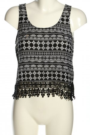 H&M Divided Cropped Top schwarz-weiß abstraktes Muster Casual-Look