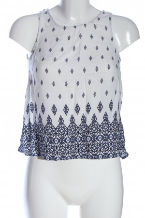 H&M Divided ärmellose Bluse weiß-blau grafisches Muster Casual-Look