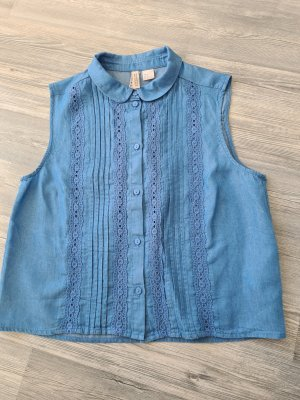 H&M Divided ärmellose Bluse/Top, Jeans, Lyocell, Gr.38, blau