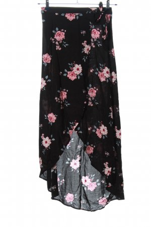 H&M Divided Asymmetry Skirt black-pink allover print casual look