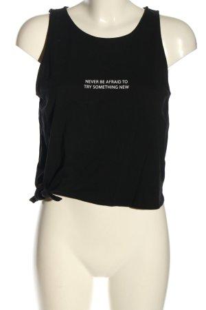 H&M Divided Basic Top schwarz Schriftzug gedruckt Casual-Look